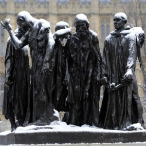 Burghers of Calais in snow, London